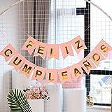 1 Juego de Banner Feliz Cumpleaños Español Pancartas Cumpleaños Bandera de Papel Guirnalda Colgar para Decoración Fiesta Reun
