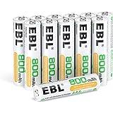 EBL 12 x Pilas AAA Recargables Ni-MH 800mAh Baja Autodescarga con ProCyco Baterías Recargables de 1,2V para Juguete, Linterna