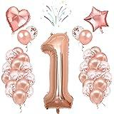 Globos de cumpleaños número 1, 40 pulgadas, oro rosa, 24 globos de confeti de látex, fiesta de cumpleaños boda aniversario de