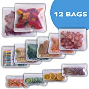Reusable Storage Bags Food Container - (12 Pack) Ziplock Seal Leakproof Freezer Safe Preservation Gallon Bag For Snacks Sandw