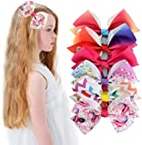 PALAY Girl's Hair Bows Unicorn Grosgrain Ribbon and Barrettes Alligator Clips - 6 Pieces