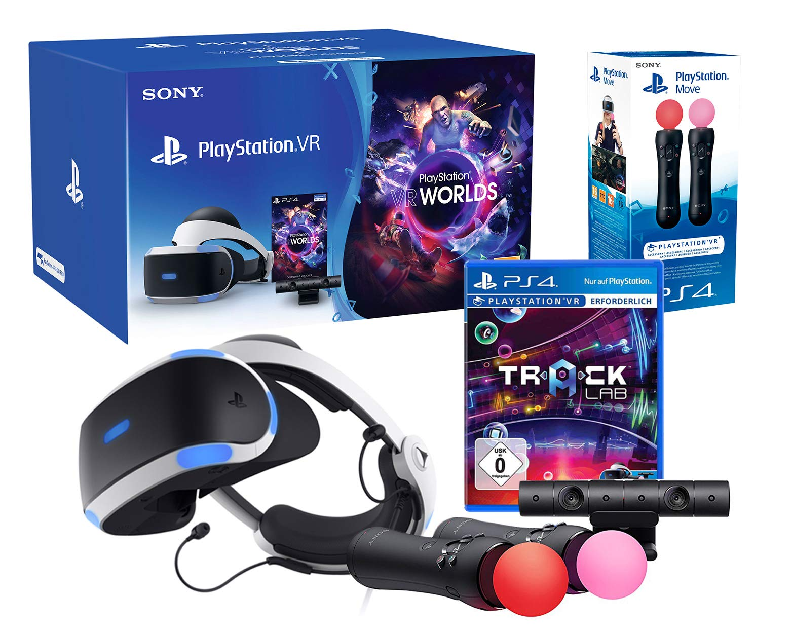 PlayStation VR2 (CUH-ZVR2) «Starter Music Pack» + VR Worlds + Track-Lab + Camera V2 + Paire Twin Move Controllers