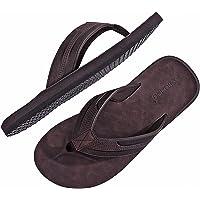 ARRIGO BELLO Tongs Hommes Claquette Cuir Sandales Doux été Pantoufle Piscine Extérieur/Intérieur Taille 40-46