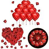ASANMU Kit Romantio Decorazioni, 1000 Pezzi Petali di Rosa Rossa + 50pcs Amore Cuore Candele Romantiche + 10pcs Cuore Rosso P