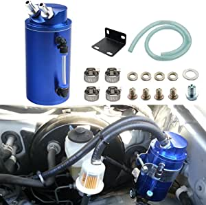 Dewhel Universal Cylindrical Jdm 750ml Aluminum Engine Oil Catch Can Reservoir Tank Blue By Auto