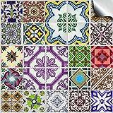 24 stück Fliesenaufkleber für Küche und Bad (Tile Style Decals 24x TP 53 - 6') | verschiedene Mosaik wandfliesen aufkleber für 15x15cm Fliesen | Fliesen-Aufkleber Folie Farbe - Mitternachtsblau | Deko-Fliesenfolie für Küche u. Bad (15cm - 24 Stück, TP 53)
