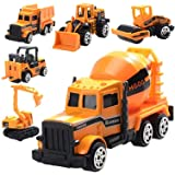 Mumoo Bear Toy engineering vehicle 6 pcs Die Cast Construction Vehicle Toys Mini Engineering Alloy Model Car Set for Kids Boy