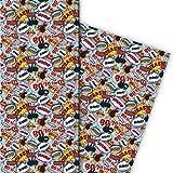 Cooles Geschenkpapier Set (4 Bogen)/Dekorpapier mit Comic Sprechblasen nicht nur für Teenager für tolle Geschenkverpackung und Überraschungen basteln 32 x 48cm