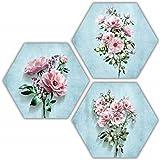 SAF Set of 3 Hexagon Pretty Flower MDF Board UV Textured Painting 17 Inch X 17 Inch SANFHXS30620