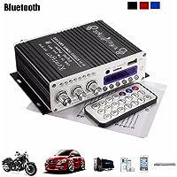 Amplificateur stéréo mini bluetooth, ELEGIANT 12 V Hi-Fi Mini Bluetooth voiture MP3 Amplificateur audio stéréo Amp Scooter Booster Radio MP3 Amplificateur MP3 pour voiture Motor CD DVD