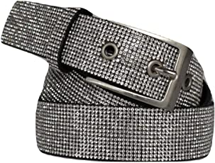 ITALOITALY - Damen Gürtel aus echtem Leder mit voller Strass, ca. 3 cm Breit, Handarbeit, Made in Italy, Kürzbar