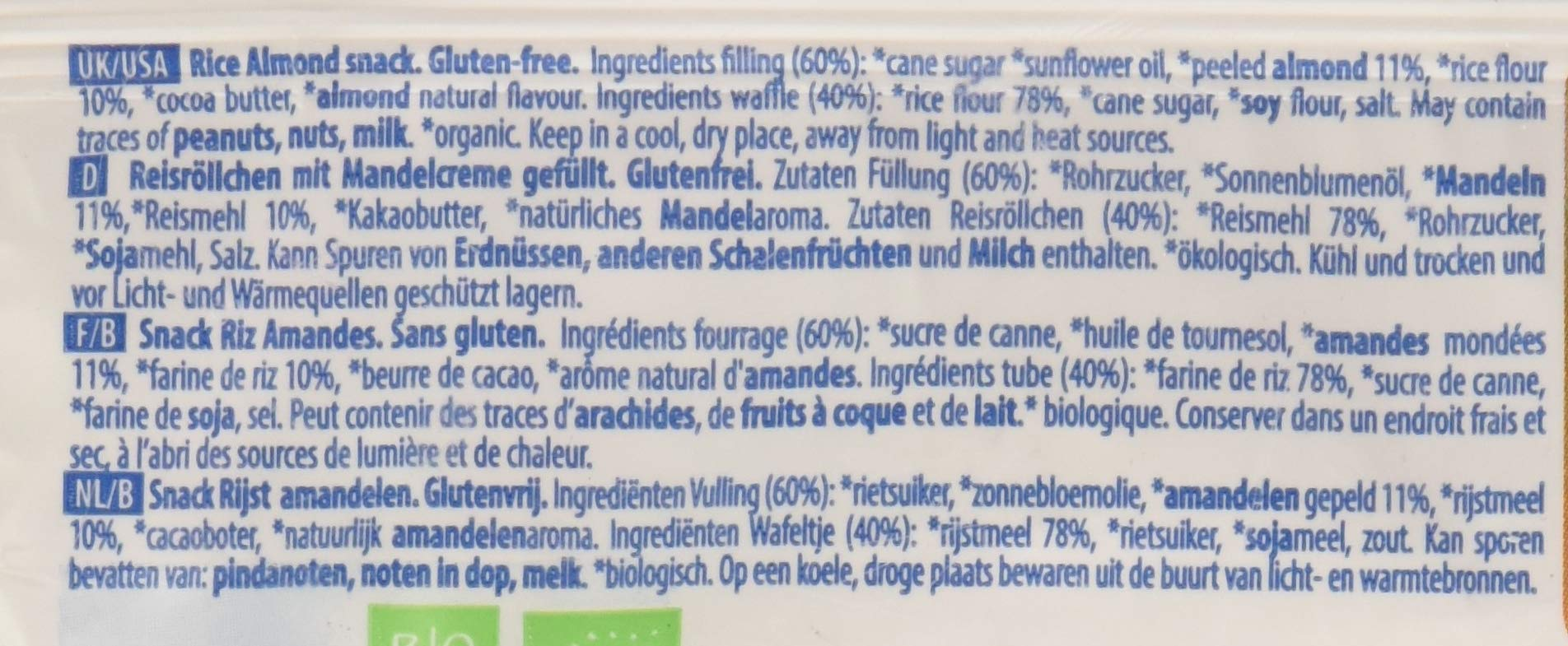 Probios Snack di Riso alla Mandorla - 24 confezioni da 25 gr, Senza glutine 4 spesavip