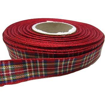2 metres or 25 metres 38mm Tartan Ribbon double sided scotish Roll UK VAT Reg