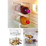 Helen's Home Plastik Çok Amaçlı Buzdolabı Düzenleyici Şişe Rafı İç İçe Geçmeli Pratik Kozmetik Rafı, Standart, Medium