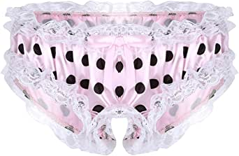 Choomomo Men's Adult Satin Frilly Polka Dots Print Hollow Out Sissy Pouch Panties Gay Underwear