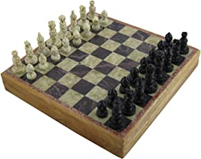 RoyaltyRoute Wooden Handmade Marble Stone Chess Set and Board Game, 10 x 10 Inches (Brown, RR-chess002)