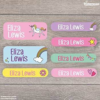 Name Labels Floral Stick On Name Labels 40 Label Pack With Over