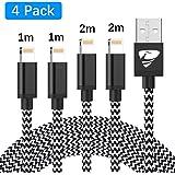 Aioneus, oplaadkabel, Aioneus, iPhone kabel, 4 stuks, 2 m, 1 m, snellaadkabel, nylon, USB-oplaadkabel, compatibel met iPhone