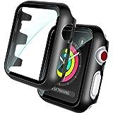 TOCOL 2 Piezas Estuche rígido Negro Protector de Pantalla de Vidrio Templado Incorporado Compatible para Apple Watch Series 3