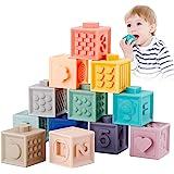 Babyhelen Giocattoli Neonato 6 Mesi e più Giochi Neonati 12Pz Cubi Impilabili Morbidi Blocchi Colorati da Masticare Dentizion