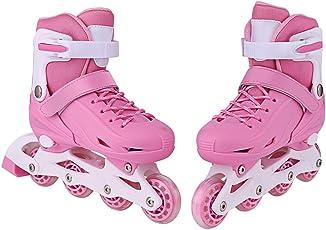 Kisshes 2 in 1 Inlineskates/Rollschuhe für Mädchen und Jungen, Kinder Inline Skates mit Verstellbarer Größe, Inliner Rosa Blau