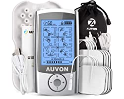 """AUVON Rechargeable TENS Machine Muscle Stimulator for Pain Relief, TENS Unit with 16 Modes, 8pcs 2"""" x 2"""" TENS Machine Pads Re"""