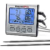 ThermoPro TP17 Thermomètre pour Viande Numérique à Double Sonde avec Grand Écran LCD Rétroéclairé Thermomètre de Cuisson Barb