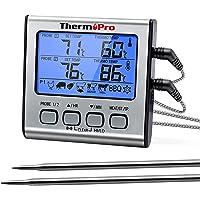 ThermoPro TP17 Thermomètre pour Viande Numérique à Double Sonde avec Grand Écran LCD Rétroéclairé Thermomètre de Cuisson…