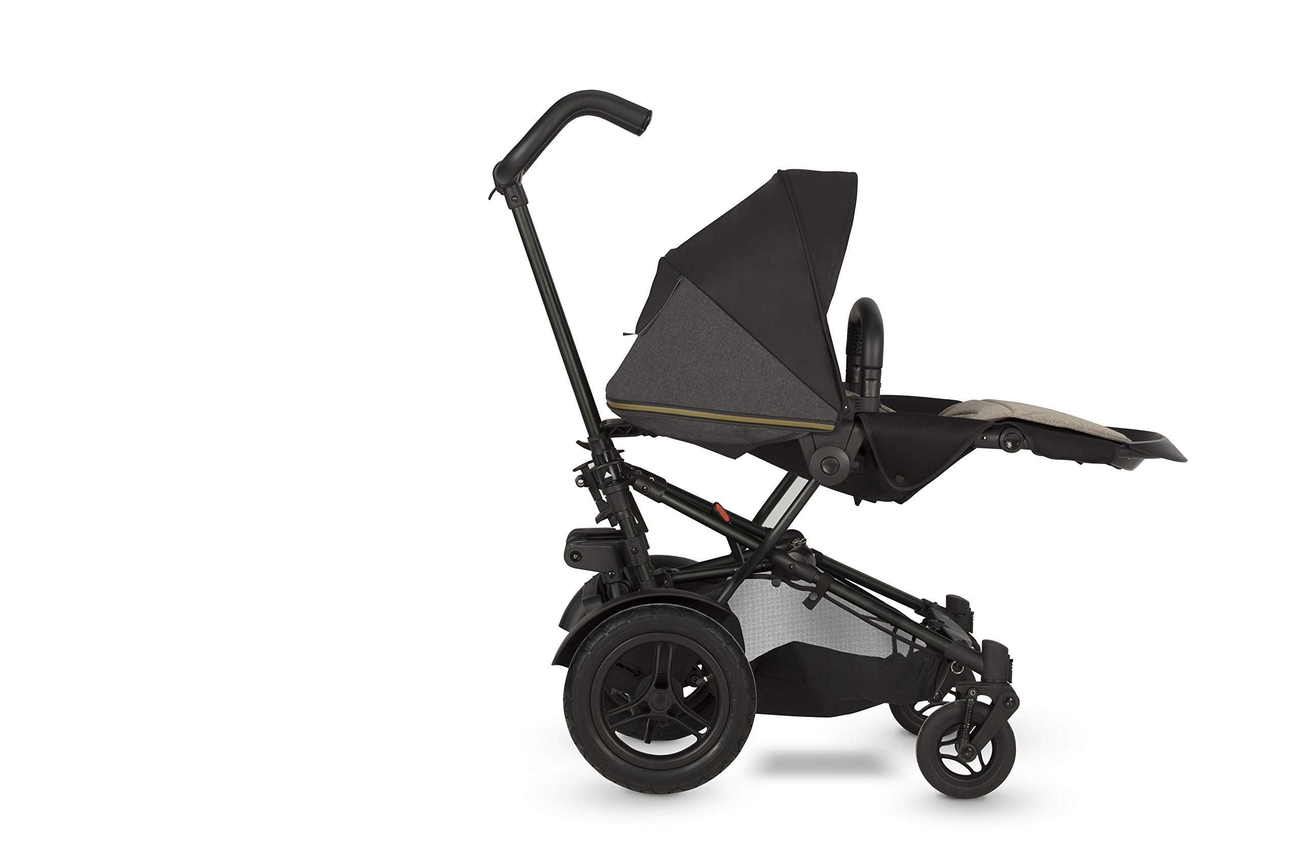 Micralite TwoFold Pushchair - Carbon. Suitable from 6 Months to 4 Years. Add Carrycot to Convert to Travel System Micralite QUICK FOLD - The TwoFold folds into one piece, with one movement. Once folded it free stands for ease of storage at home or out and about. To transport when not in use simply drag it along behind you. ALL-TERRAIN WHEELS - Large air filled back tyres, high mud guards and great ground clearance mean you can still go anywhere even with two in tow. You don't have to worry about getting a puncture either as the pneumatic tyres are lined with Kevlar - the same fibre used in bullet proof vests! WEATHERPROOF FABRICS - Dressed with signature Micralite high quality weatherproof fabrics, the hood of the TwoFold turns water just aswell as it deflects the sun's harmful rays. We also include a storm cover for more extreme weather - so nothing can stop you and your little one from getting out there. 8