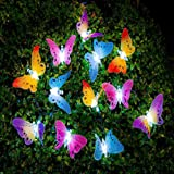 Cadena de luz solar LED, luces de hadas de mariposa multicolor, luz impermeable al aire libre, jardín, patio, césped, decorac