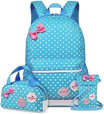 Vbiger Mädchen Schulrucksack Kinder Daypack Mädchen Backpack für Schule und Freizeit 3-In-1 Schulrucksack
