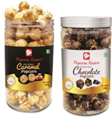 Popcorn Fusion Caramel & Chocolate Popcorn 2 Jars (Healthy Snacks for Munching) Free Shipping