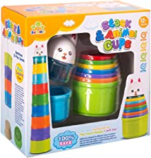 FunBlast (Set 9 Pcs) Rainbow Stacking Animals Cups Game with Cute Rabbit Topper (Box Packing)