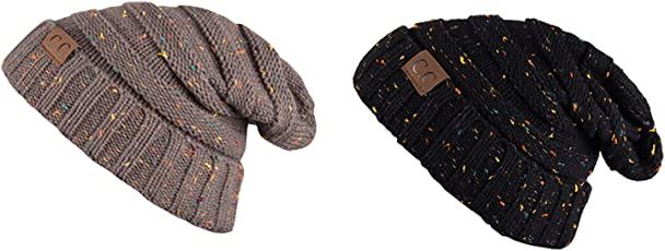 Noise NOICAPWNTRCMB049 Polyester Dot Knitted Beanie Combo, Adult Pack of 2 (Multicolor)