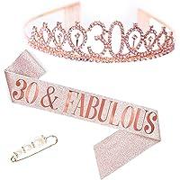 Strass Corona 30 Anni, TUOCO Corona per Compleanno Compleanno Tiara,30 Crown Headband, Cristallo Diamande di Strass…