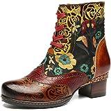Botas de Cuero Liso,Camfosy Winter City Shoes con Tacones Planos Botas Botas con Cordones y Suela Cómoda para Pies Anchos Dis