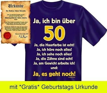 Shoppen Sie Witzige Geburtstag Sprüche Fun Tshirt! Ja, Ich Bin über 50!    T Shirt In Navy Blau Mit Gratis Urkunde! Auf Amazon.de:T Shirts