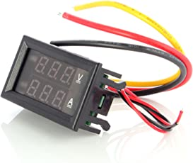 Neuftech® Meter Mini Voltmetro digitale DC 100V 10A Amperometro Misuratore di voltaggio Meter - Blu + Rosso Display LCD doppio