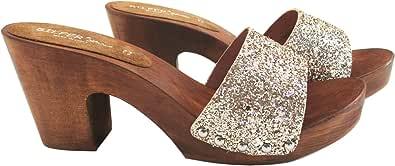 Silfer Shoes Zoccolo Donna - Vero Legno - Tessuto - Vera Pelle Colore Gold-Colore Oro -Susy B