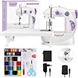 Magicfly Mini Máquina de Coser Para Principiantes, Máquina de coser Portátil de Doble Velocidad con Mesa de Extensión, luz, k