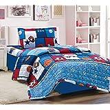 Kids 3Pcs Compressed Comforter Set, Single Size, Balls 2, Blue