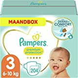 Pampers Maat 3 Premium Protection Luiers, 204 Stuks, MAANDBOX, onze Nummer 1 Luier voor Zachtheid en Bescherming van de Gevoe