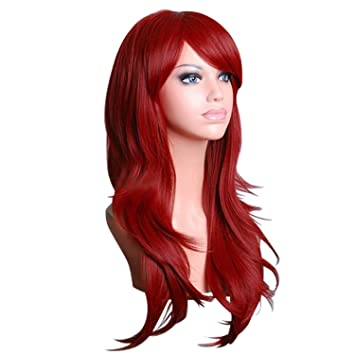 Discoball® Women's wine Red Fashion Natural Wavy Full Curl Wigs ...