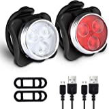 Defurhome Bike Light Set, Super Bright USB Rechargeable Bicycle Lights, 4 Brightness Modes Options Cycling Front Light & Rear