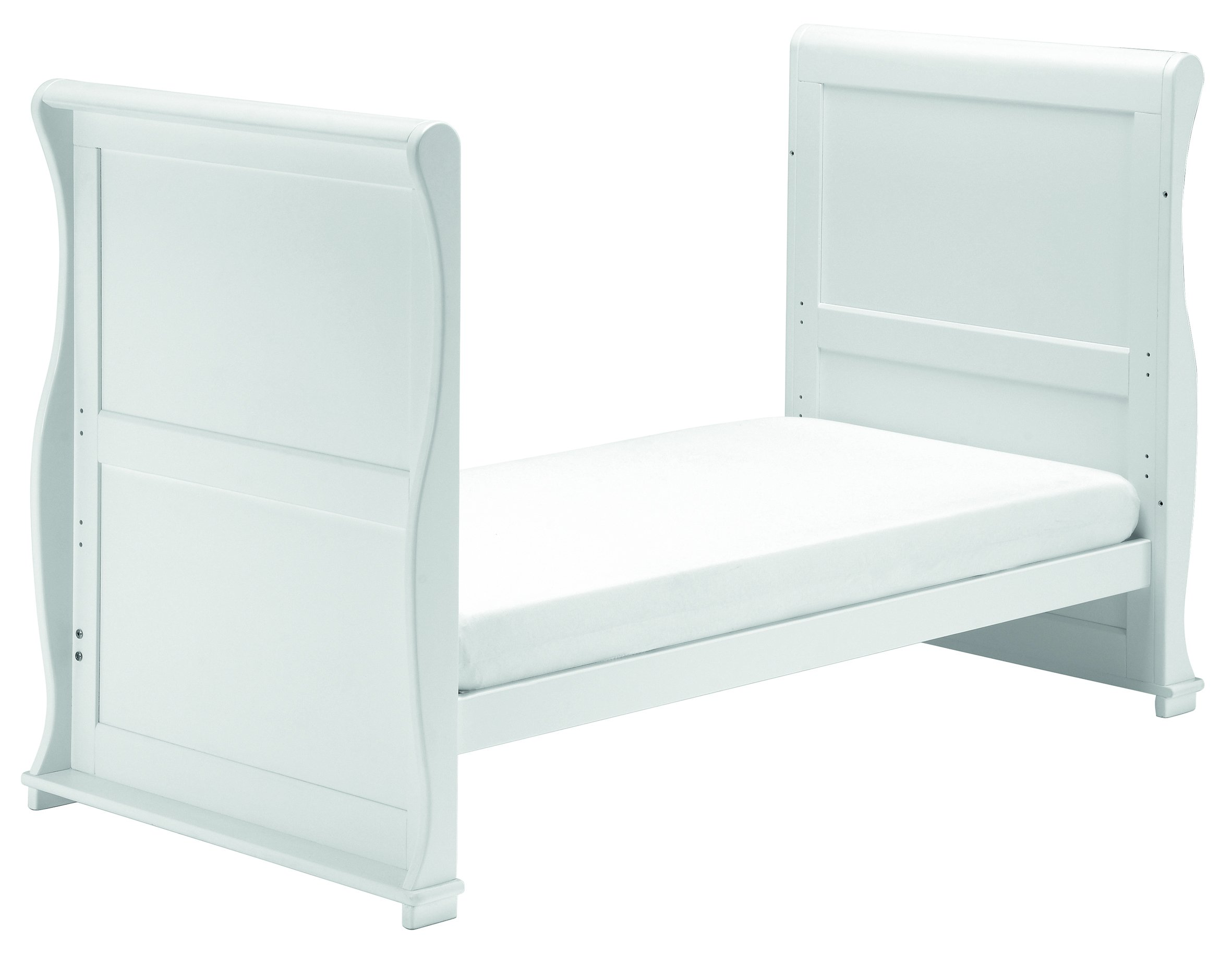 East Coast Nursery Alaska Sleigh Cotbed (White) East Coast Nursery Ltd 3 Base Heights 2 Fixed Sides Converts to day bed and toddler bed 3