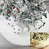 Yueshop Christmas Tree Skirt Long Snow Plush Christmas Tree Skirt Base Floor Mat Cover XMAS Party Decor
