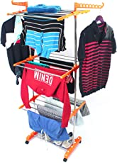 TNC Made in India Lifetime Use Warranty Rust Free Strong Nd Rigid Heavy Duty Double Poll Pure Stainless Steel Double Poll Cloth Dryer Stand Laundry Rack at Wholesale Price and Best Quality