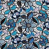 Fabulous Fabrics Spitze Bogenkante Blumen – schwarz —