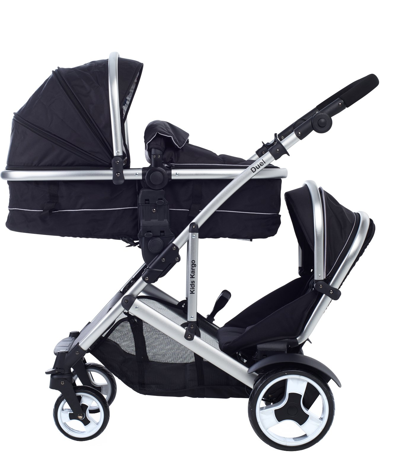Kids Kargo Duel Combo Tandem Double Pushchair Stroller, Midnight Black Kids Kargo Tandem double pushchair suitable for newborn and toddler Complete with carrycot that converts to a seat unto to grow with your baby. carrycot has soft padded lining which zips off and mattress.. Carrycot & car seats fit in top or bottom position. compatible car seats; kidz kargo 0+, britax babysafe 0+ (no adapters needed) or maxi cosi adaptors 2