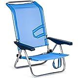 SOLENNY 50001072720095 Strandstoel, inklapbaar, met 4 posities, hoge rugleuning met handgrepen, aluminium, anti-corrosie en t
